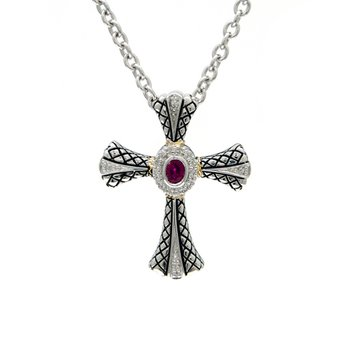 18kt and Sterling Silver Diamond and Ruby Cross Pendant with Chain
