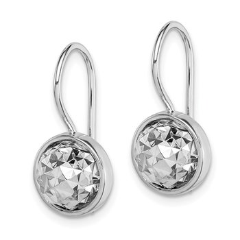 Sterling Silver Rhodium Plated Diamond-Cut Earrings
