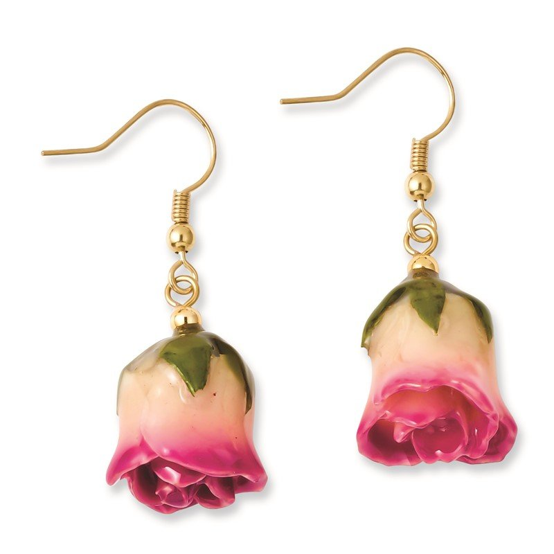 Quality Gold Lacquer Dipped White/Pink Rose Dangle Earrings