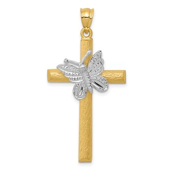 14k Two-tone Cross w/Butterfly Pendant