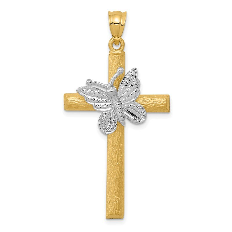 Quality Gold 14k Two-tone Cross w/Butterfly Pendant