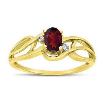 14k Yellow Gold Oval Garnet And Diamond Curve Ring