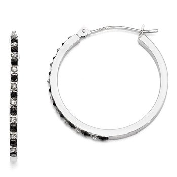 14k White Gold Diamond Fascination B & W Round Hinged Hoop Earrings