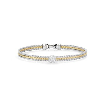 Grey & Yellow Cable Classic Stackable Bracelet with Single Round Station set in 18kt White Gold