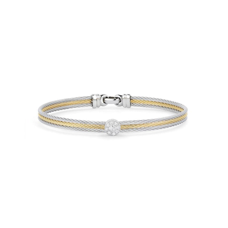 ALOR Grey & Yellow Cable Classic Stackable Bracelet with Single Round Station set in 18kt White Gold