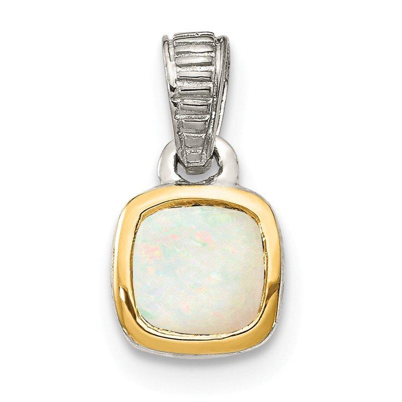 Shey Couture Sterling Silver w/ 14K Accent Milky Opal Pendant