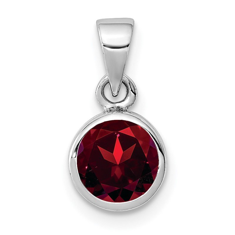 Quality Gold Sterling Silver Rhodium-plated Polished Garnet Round Pendant