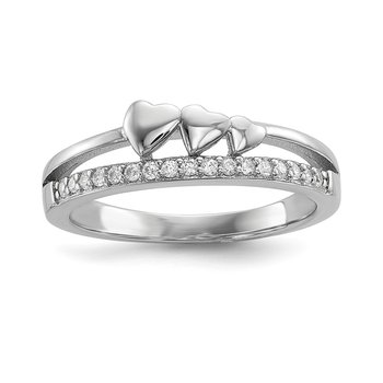 Sterling Silver Rhodium-plated CZ & Hearts Polished Ring
