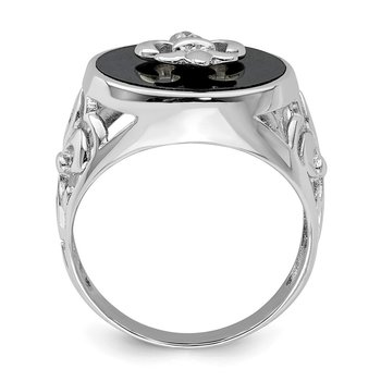 Sterling Silver Rhodium Plated CZ Black Onyx Ring