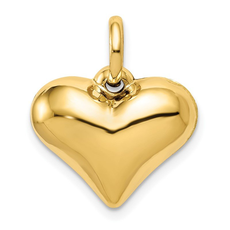 Quality Gold 14K Polished 3-D Puffed Heart Pendant