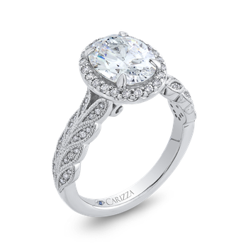 18K White Gold Oval Diamond Floral Halo Engagement Ring (Semi-Mount)