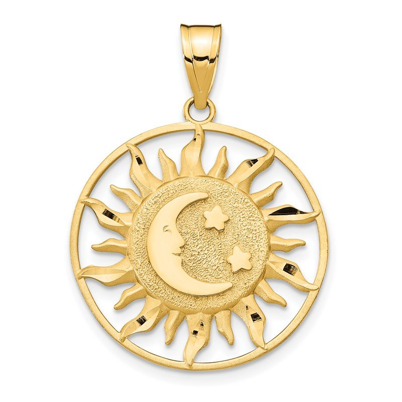 Quality Gold 14k Diamond-cut Sun with Moon and Stars Charm