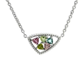 STERLING SILVER PINK & GREEN TOURMALINE NECKLACE