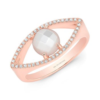 Rose Gold Piety Mother Of Pearl Evil Eye Ring