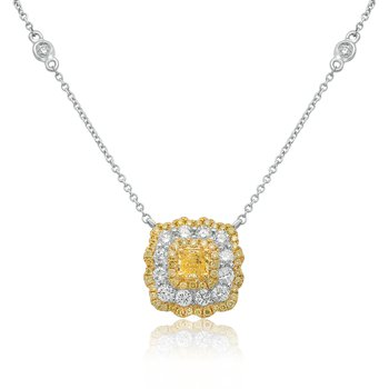 Radiant Cut Triple Halo Diamond Necklace