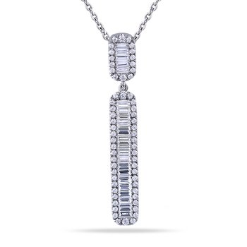 "14K Art Deco Design long Pendant with 18 Baguette Diamonds 0.42C T.W. & 65 Round Diamonds 0.26C T.W. 18"" Chain"