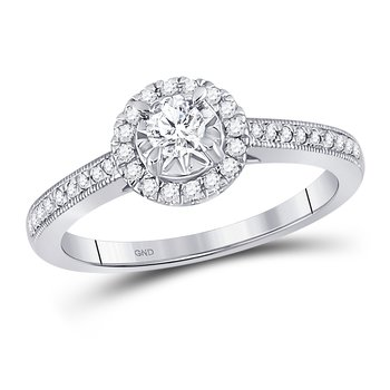 14kt White Gold Round Diamond Solitaire Halo Bridal Engagement Ring 3/8 Cttw