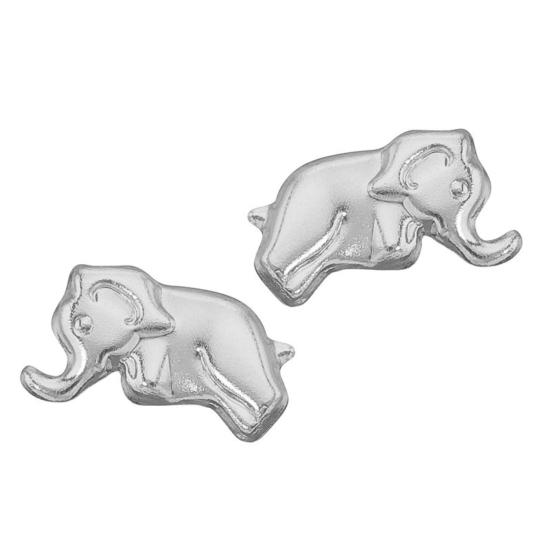 14K White Gold Baby Elephant Screwback Earrings