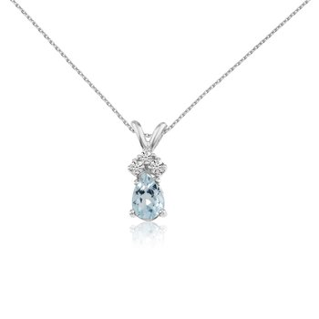 14k White Gold Aquamarine Pear Pendant with Diamonds