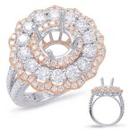 S. Kashi & Sons Bridal Rose & White Gold Halo Engagement Ring