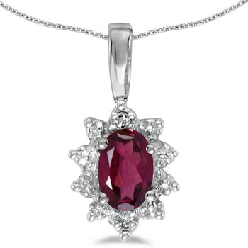 14k White Gold Oval Rhodolite Garnet And Diamond Pendant