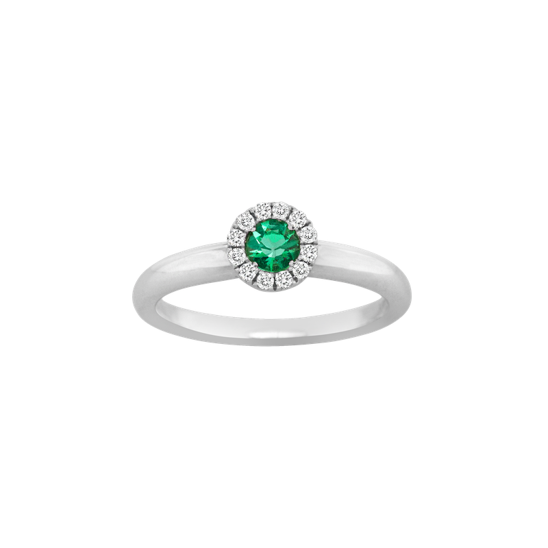 Spark Creations Emerald & Diamond Halo Ring