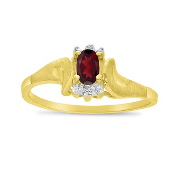 14k Yellow Gold Oval Garnet And Diamond Satin Finish Ring