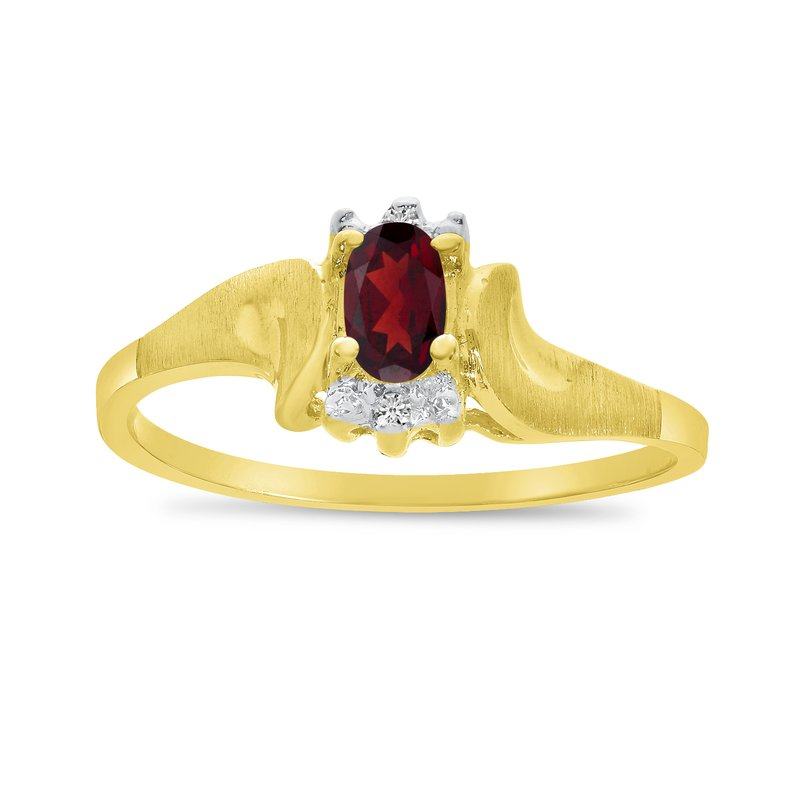 Color Merchants 14k Yellow Gold Oval Garnet And Diamond Satin Finish Ring