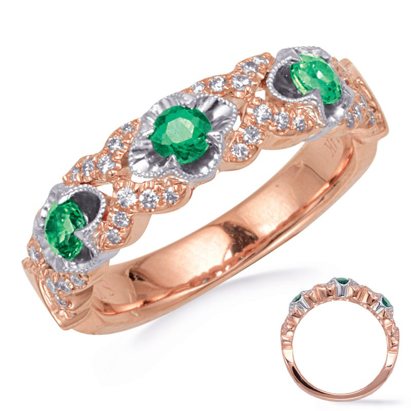 S. Kashi  & Sons Rose & White Gold Tsavorite & Diamond