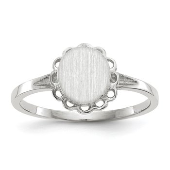14k White Gold 7.0x6.5mm Open Back Signet Ring
