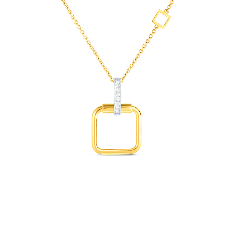 Roberto Coin 18K SMALL SQUARE PENDANT W. DIA ACCENT ON CHAIN