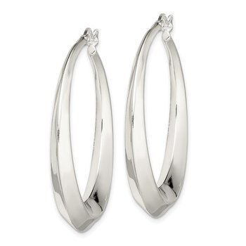 Sterling Silver Beveled Hoop Earrings