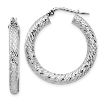 14k 4x20mm White Gold Diamond-cut Round Hoop Earrings