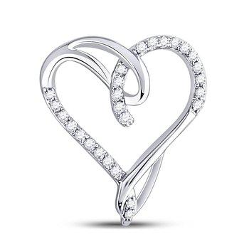 10kt White Gold Womens Round Diamond Lasso Heart Pendant 1/6 Cttw