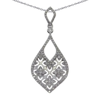 14K White Gold  Brushed Diamond Pendant