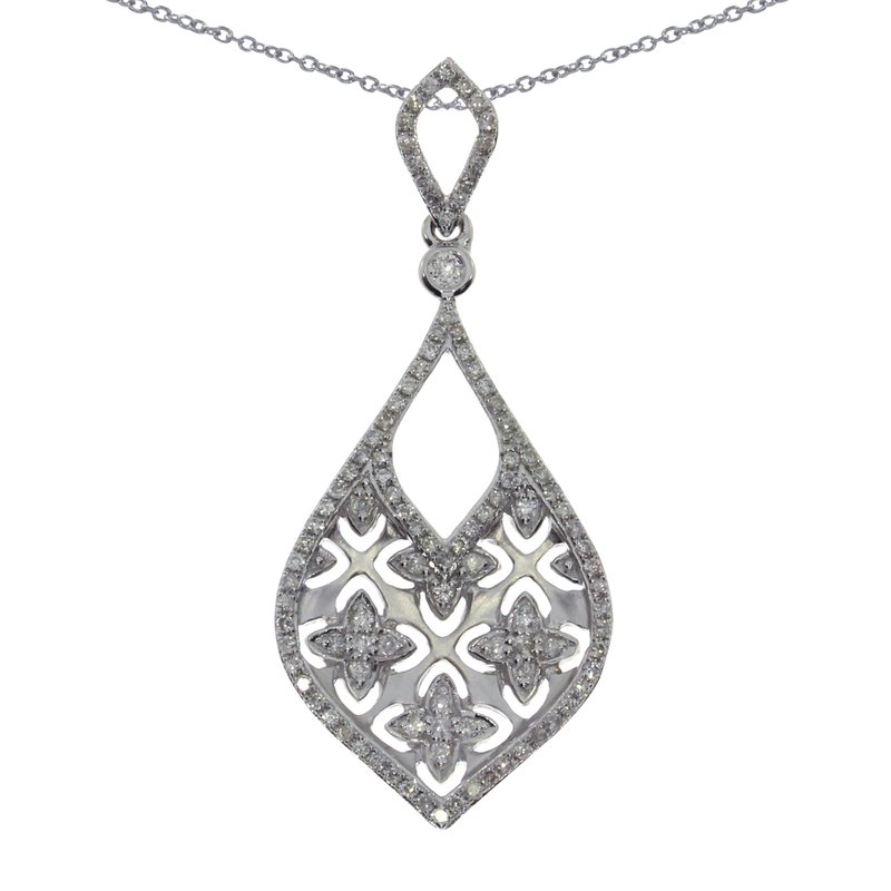 Color Merchants 14K White Gold  Brushed Diamond Pendant