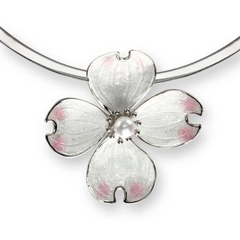 White Dogwood Collar Necklace.Sterling Silver-Akoya Pearl