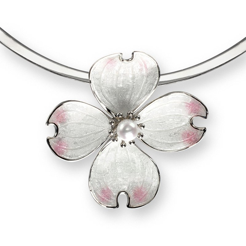 Nicole Barr Designs White Dogwood Collar Necklace.Sterling Silver-Akoya Pearl