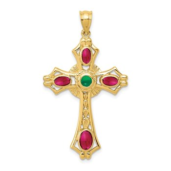 14K Ruby and Emerald Cabochon Cross Pendant