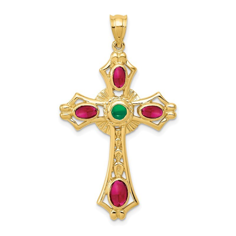 Quality Gold 14K Ruby and Emerald Cabochon Cross Pendant