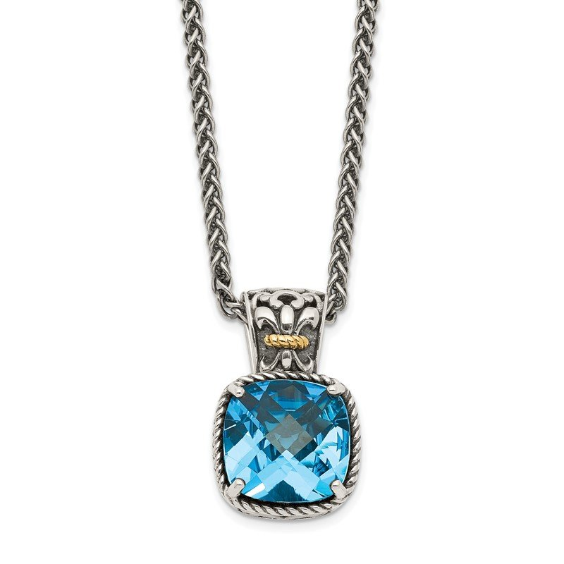 Quality Gold Sterling Silver w/14k Blue Topaz Necklace