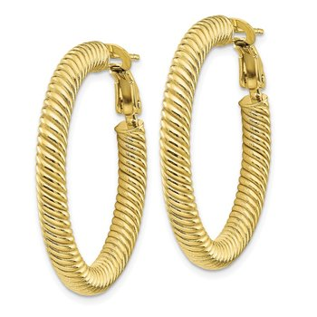 10k 4x25 Twisted Round Omega Back Hoop Earrings