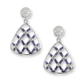 Sterling Silver Quilted Triangle Stud Earrings-Purple. White Sapphires