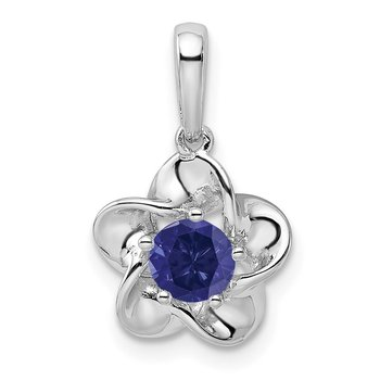 Sterling Silver Rhodium-plated Floral Created Sapphire Pendant