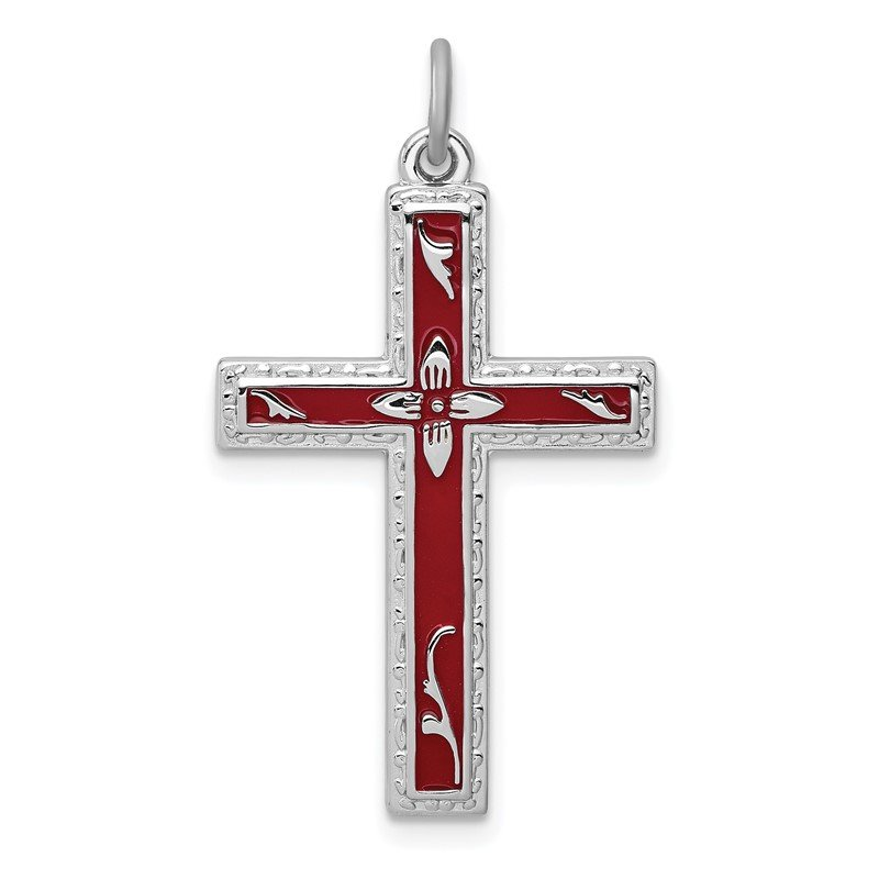 Quality Gold Sterling Silver Rhodium-plated Red Enameled Cross Pendant