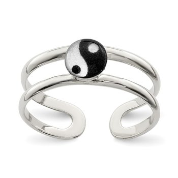 Sterling Silver Enameled Yin Yang Toe Ring