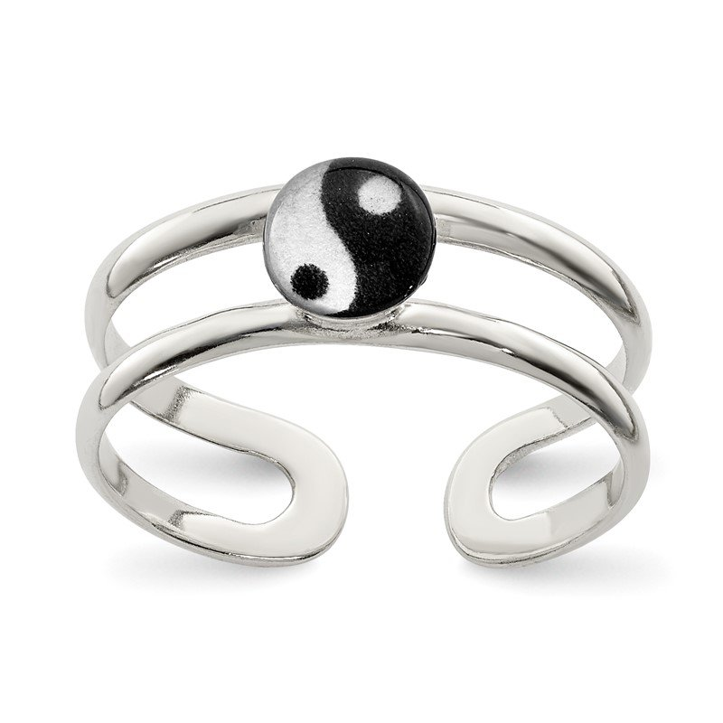Quality Gold Sterling Silver Enameled Yin Yang Toe Ring