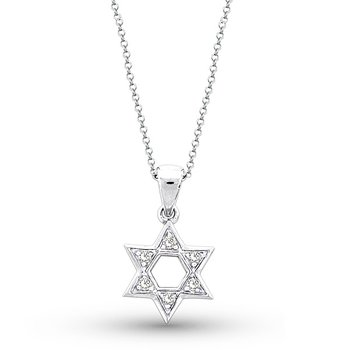 Diamond Star Of David Necklace in 14k White Gold with 6 Diamonds weighing .10ct tw.