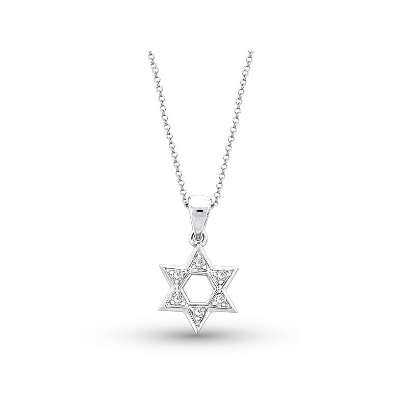 KC Designs Diamond Star Of David Necklace in 14k White Gold with 6 Diamonds weighing .10ct tw.