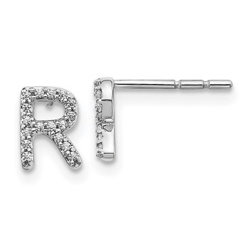 14k White Gold Diamond Initial R Earrings